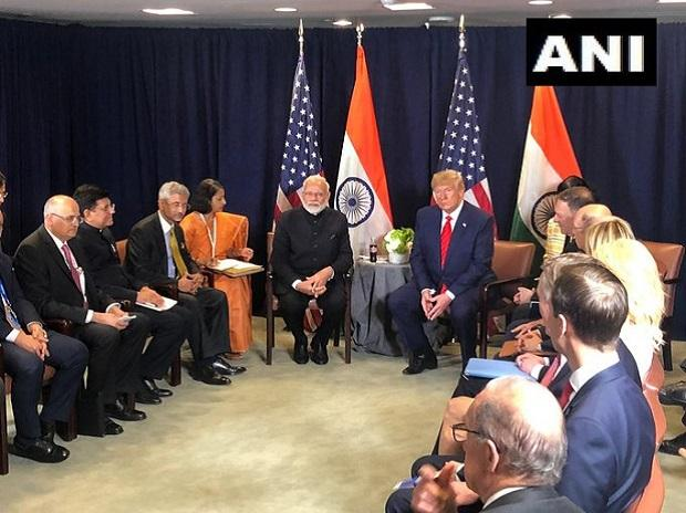 Prime Minister Narendra Modi and US President Donald Trump hold a meeting at the UN Headquarters | Credits: @ANI