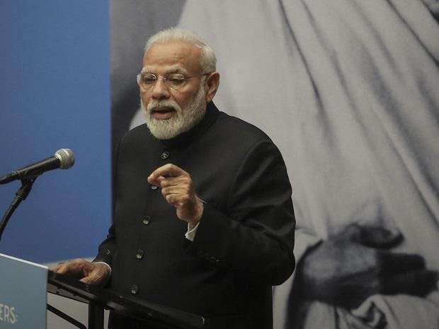 Indian Prime Minister Narendra Modi, speaks as he hosts a special event commemorating the 150th anniversary of Mahatma Gandhi, during the United Nations General Assembly (Photo: PTI)