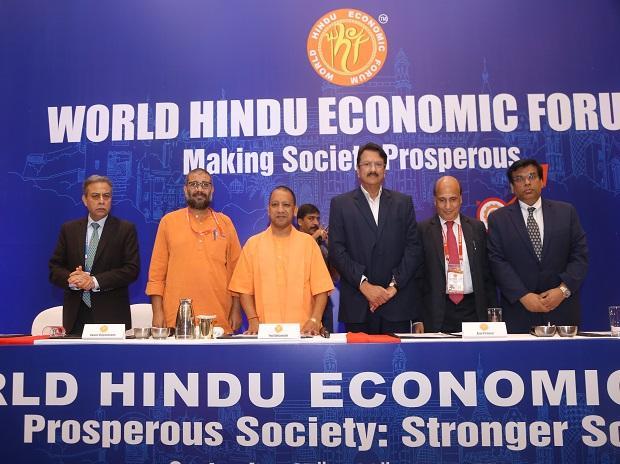 Photo caption: (L to R)  Banmali Agarwala, President, infrastructure and defense and Aerospace, Tata Sons Pvt. Ltd., Swami Vigyananand, Initiator of WHEF, Yogi Adityanath, Chief Minister, Govt. of Uttar Pradesh,  Ajay Piramal, Chairman, Piramal Group