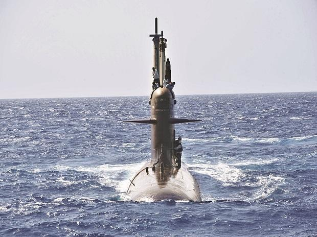 INS Khanderi, the Navy's second Scorpene submarine, which Defence Minister Rajnath Singh commissioned in Mumbai on Saturday