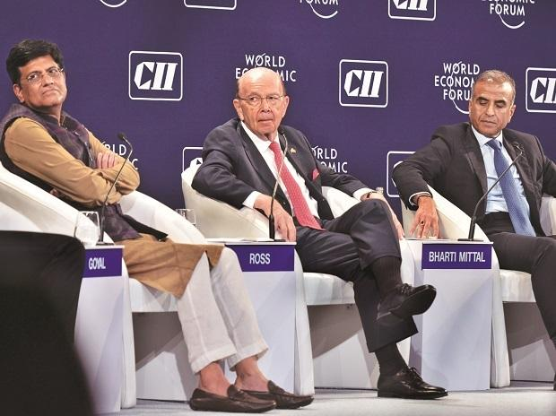 Commerce and industry minister Piyush Goyal, US Secretary of Commerce Wilbur Ross, and Sunil Mittal, chairman of Bharti Enterprise, at India Economic Summit in New Delhi. Photo: Sanjay K Sharma