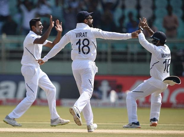 Ravichandran Ashwin celebrates the dismissal of South African batsman Theunis de Bruyn on the final day of the first test match between India and South Africa in Visakhapatnam on October 6, 2019. (PTI Photo/R Senthil Kumar)