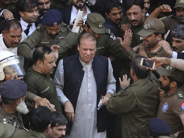 Lahore: Pakistani former Prime Minister Nawaz Sharif arrives at a court in Lahore, Pakistan, Friday, Oct. 11, 2019. Pakistan's anti-graft tribunal has ordered that convicted Sharif be questioned on money laundering allegations over the next two weeks