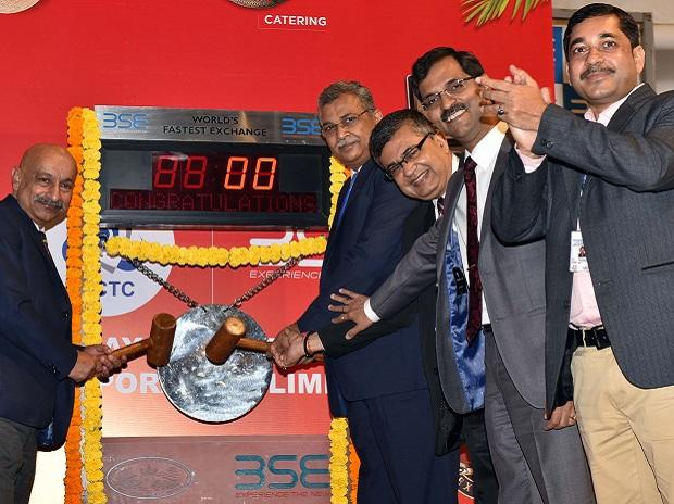 (Left to right) P S Mishra, member of the Traffic Railway Board, Mahendra Pratap Mall, CMD of IRCTC,  Ashish Kumar Chauhan, MD & CEO of the BSE, Ajai Srivastava, group GM of IRCTC, and Krishna Mohan Singh, joint GM of IRCTC, at the listing ceremo
