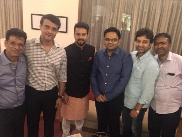 The new BCCI team with Minister of State for Finance and Corporate Affairs Anurag Thakur
