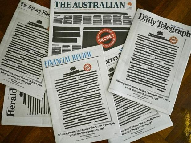 Australian newspapers redact front pages to protest media curbs (Photo: Twitter @ReutersUK)
