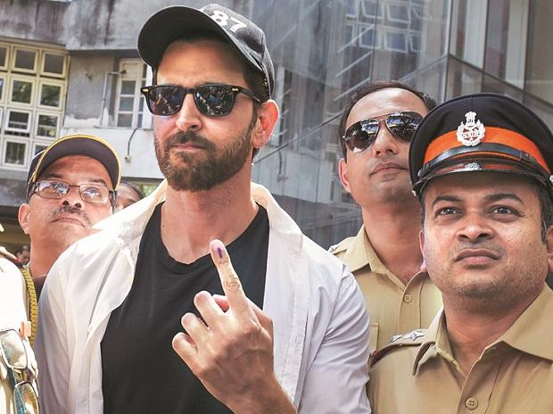 War star Hrithik Roshan after casting his vote on Monday