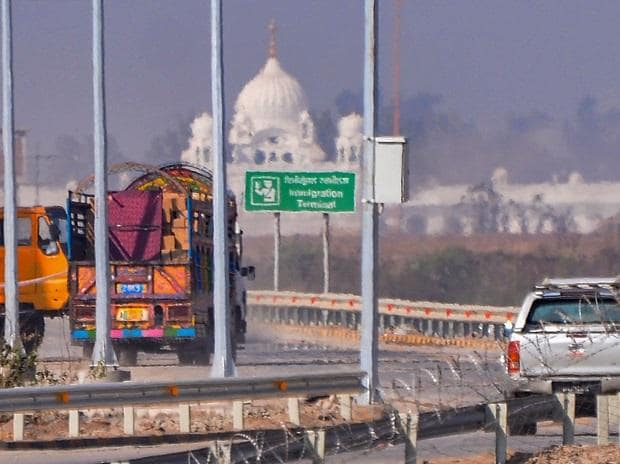 Construction works underway at the Kartarpur Corridor in Pakistan side, as Gurdwara Darbar Sahib is seen in the background, Thursday, Oct 24, 2019