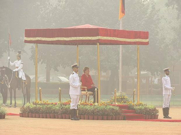 German Chancellor Angela Merkel during at the Rashtrapati Bhawan on Friday. India and Germany signed 17 memorandum of understandings. Photo: PTI