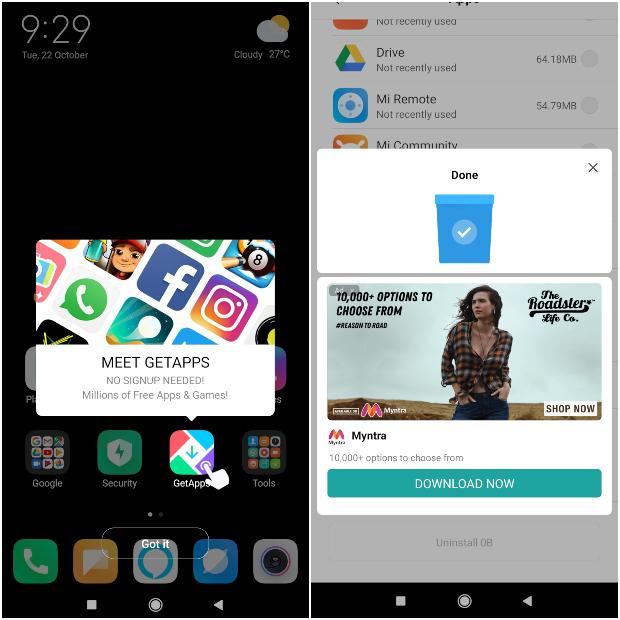 MIUI 10 ads and apps notifications