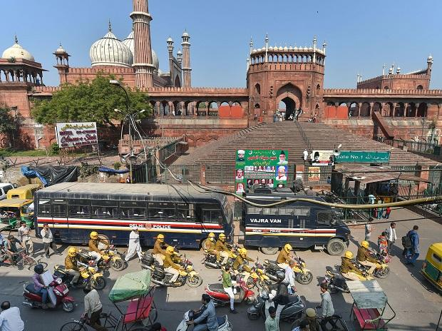 Police personnel patrol near the Jama Masjid as security has been beefed up in the view of the Ayodhya case verdict, in New Delhi. Photo: PTI