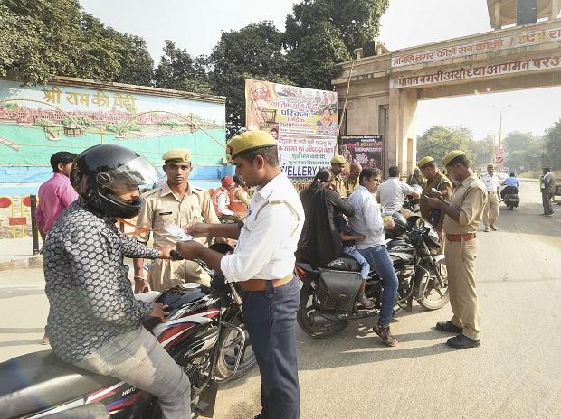 Ayodhya: Security personnel check commuters at the entrance of the city of Ayodhya, Ayodhya, Saturday, Nov. 9, 2019