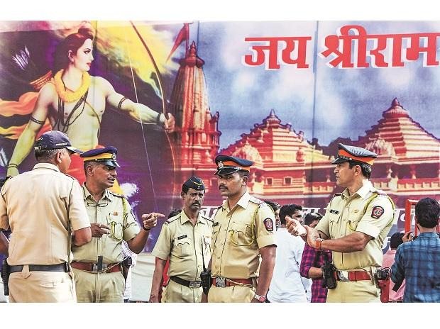 Mumbai Police personnel outside the BJP state headquarters in Mumbai on Saturday | Photo: PTI