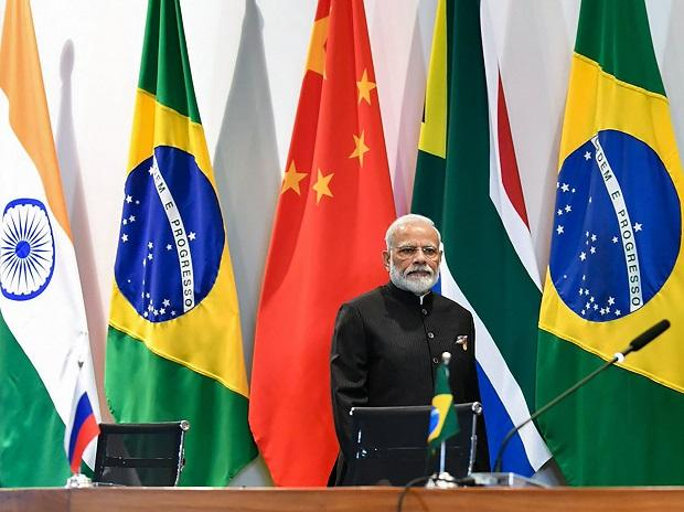 Prime Minister Narendra Modi speaks during the leaders' dialogue with BRICS Business Council and New Development Bank in Brasilia, Brazil. Photo: PTI