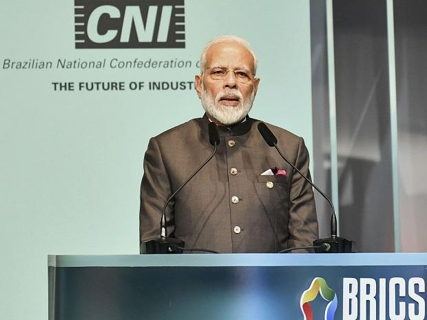 Prime Minister Narendra Modi addresses the BRICS Business Forum, on the sidelines of BRICS Summit in Brazil.( (Photo: PIB/ PTI)