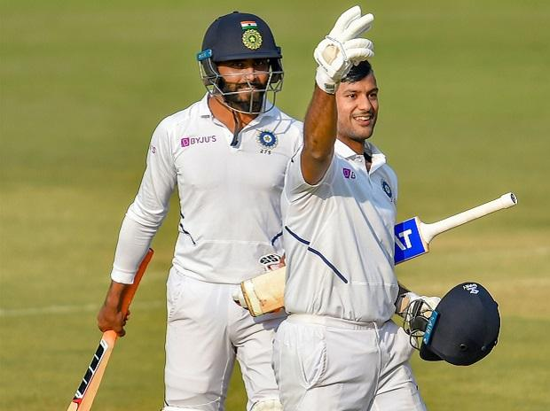 Indian batsman Mayank Agarwal displays a victory sign after scoring a double century on the second day of the first cricket test match against Bangladesh, in Indore. Photo: PTI