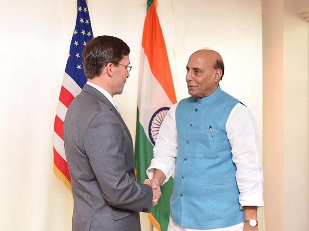 Defence Minister Rajnath Singh with  US Secretary of Defence Mark T Esper