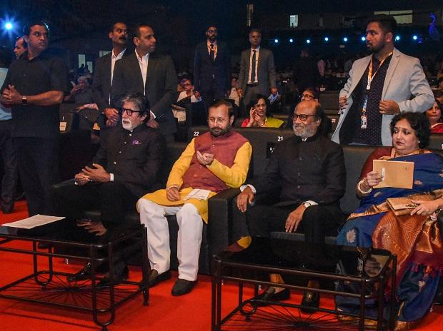 Union I&B Minister Prakash Javadekar with Rajinikanth and Amitabh Bachchan at opening of the 50th edition of IFFI in Goa