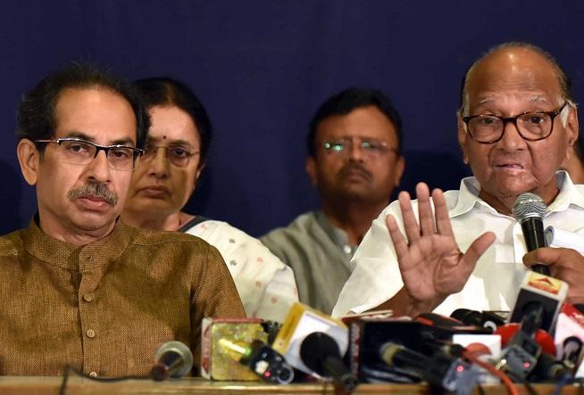 From left: Uddhav Thackeray, Sharad Pawar react at press conference | Photo: Kamlesh Pednekar
