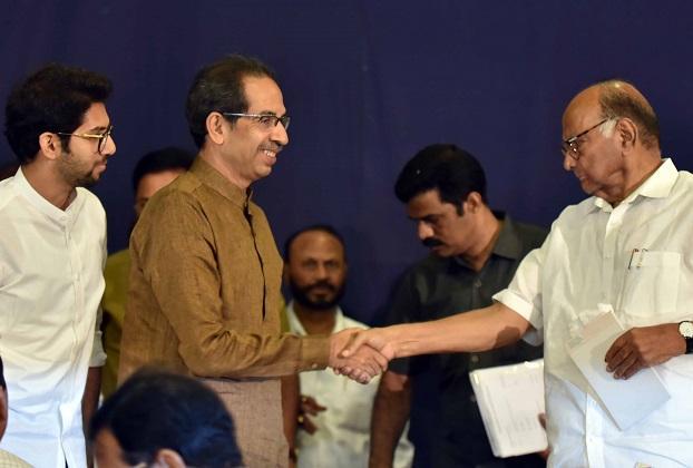 From left: Aaditya Thackeray looks on as Uddhav Thackeray meets Sharad Pawar | Photo: Kamlesh Pednekar
