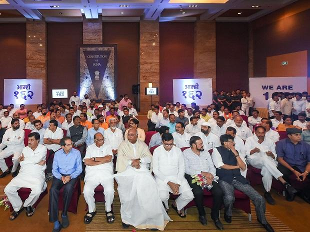 NCP-Congress-Shiv Sena MLAs gather along with senior leaders to display their strength of 162 to form govt, at Grand Hyatt Hotel, Mumbai. (Photo: PTI)