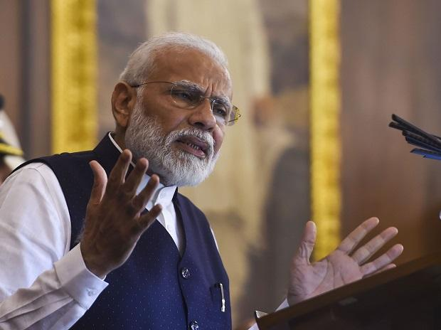 Prime Minister Narendra Modi addresses the function to commemorate 'Samvidhan Divas' at Parliament House. Photo: PTI