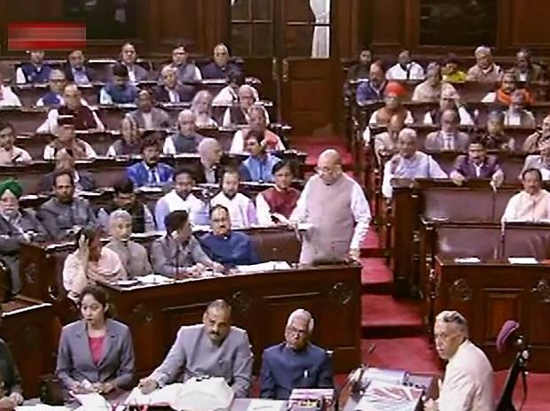 Union Home Minister Amit Shah speaks in the Rajya Sabha during the Winter Session of Parliament in New Delhi