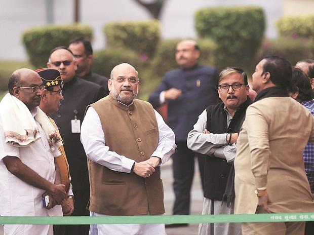 Amit Shah at Parliament to pay tribute to the martyrs of 2001 Parliament attack on its 18th anniversary in New Delhi. Photo: PTI