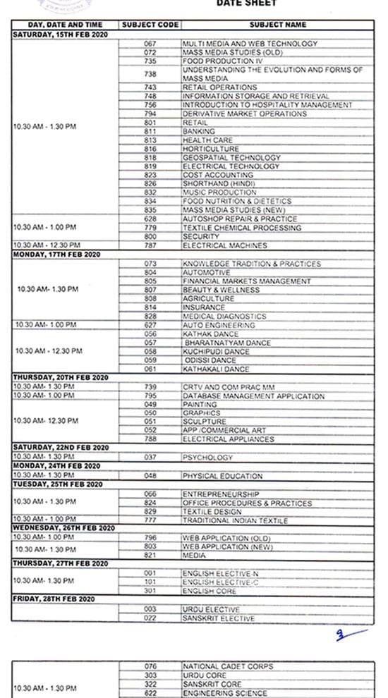 CBSE date sheet 2020: Class 12 dates