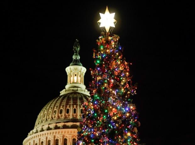 The U.S. Capitol Christmas Tree, harvested from the Carson National Forest in New Mexico, is lit on Capitol Hill in Washington, U.S.
