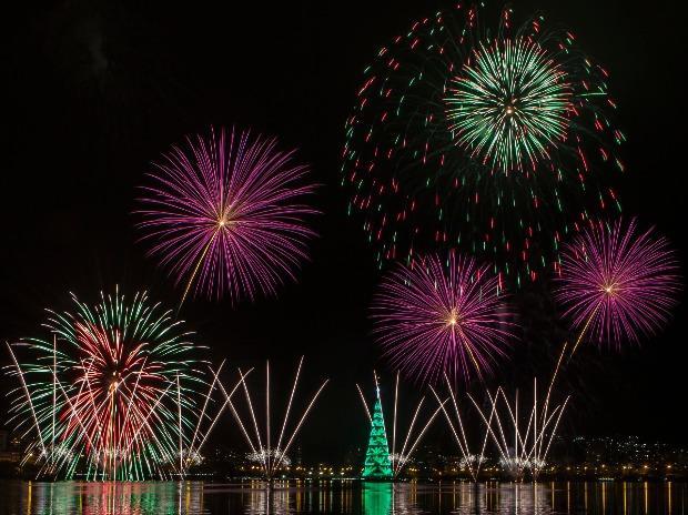 Fireworks explode over a floating Christmas tree at the Rodrigo de Freitas Lagoon in Rio de Janeiro, Brazil.