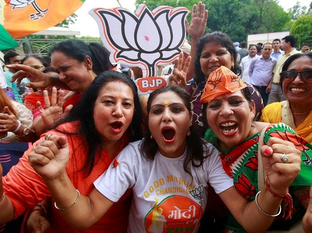 supporters of the BJP celebrate after the results of the Lok Sabha elections. Photo: Reuters