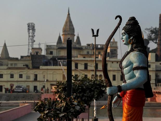 A statue of Ram towers over Ayodhya city. Photo: Reuters