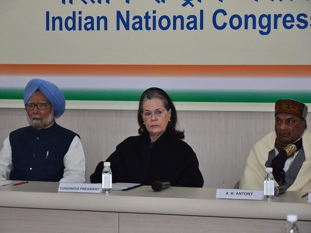 Dr Manmohan Singh, Congress President Sonia Gandhi and A K Antony at the CWC meeting in Delhi. Photo: Sanjay K Sharma