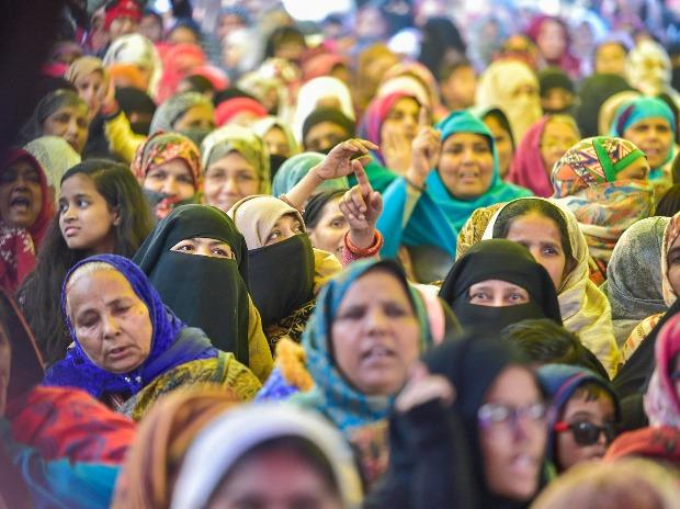 Women participate in a demonstration against Citizenship (Amendment) Act and NRC at Shaheen Bagh in New Delhi.