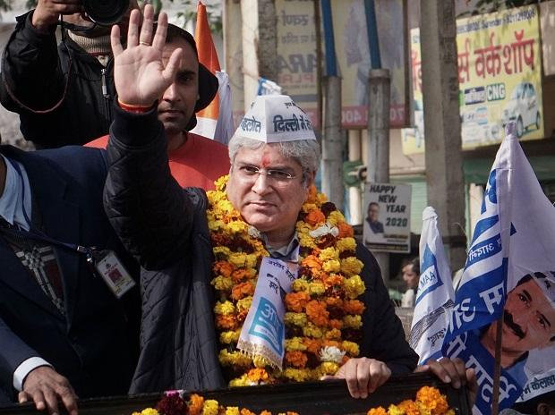 Delhi Transport & Revenue Minister Kailash Gahlot during a election campaign rally before filing his nomination for the upcoming State Assembly elections, at Najafgarh in New Delhi. Photo: PTI