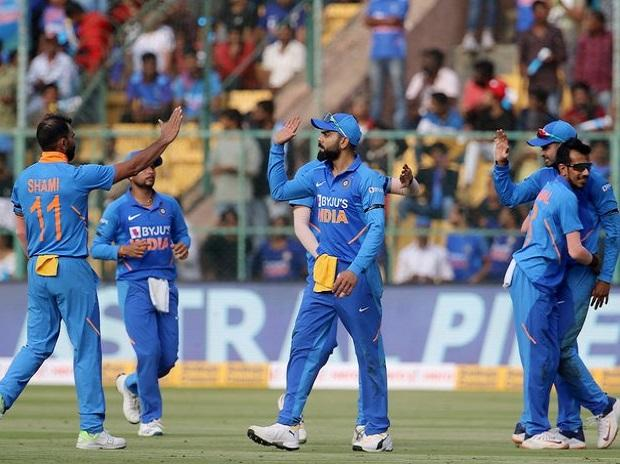 Indian team celebrates after Steve Smith's wicket (Photo: BCCI)
