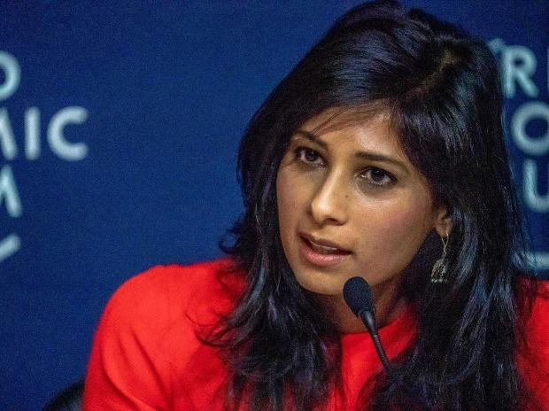Gita Gopinath, Chief Economist, International Monetary Fund (IMF), speaks at a press conference at the World Economic Forum Annual Meeting 2020, Switzerland. Photo: PTI