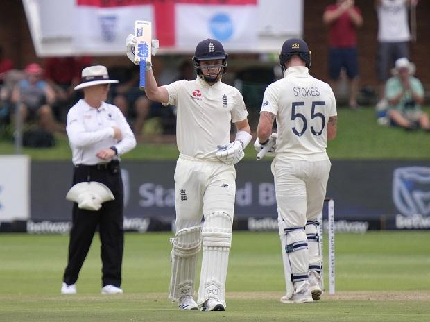 England's Ollie Pope celebrates getting to his fifty during day two of the third cricket test between South Africa and England in Port Elizabeth, South Africa. File Photo: AP | PTI