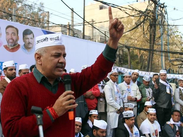 Deputy Chief Minister of Delhi Manish Sisodia addresses to supporters at  Aam Admi Party event ahead of assembly elections, in New Delhi. Photo: ANI