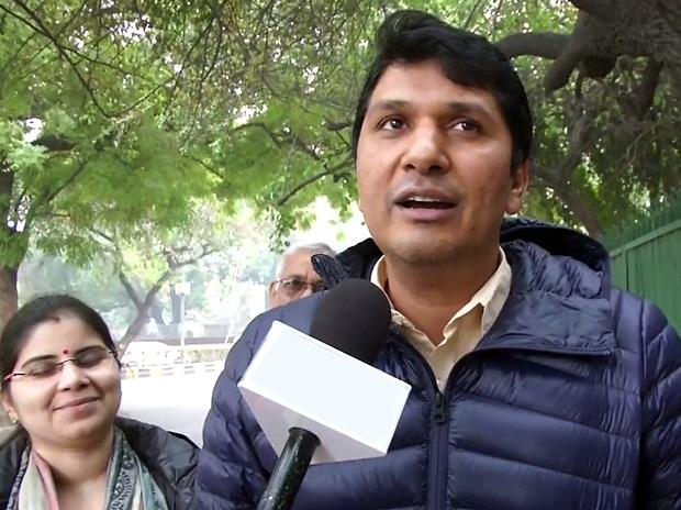 AAP spokesperson Saurabh Bharadwaj talking to media after filing his nomination from Greater Kailash constituency. Photo: ANI