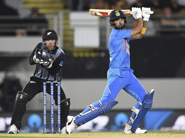 India's K L Rahul bats as New Zealand wicketkeeper Tim Seifert looks on during the Twenty/20 cricket international between India and New Zealand in Auckland. Photo: AP | PTI