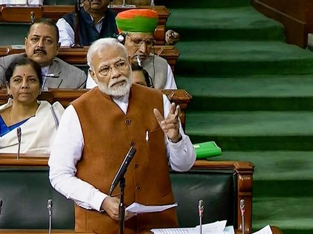 Prime Minister Narendra Modi speaks in the Lok Sabha, during the ongoing Budget Session of Parliament, in New Delhi. Photo: PTI