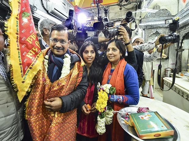 Arvind kejriwal, hanuman mandir, sunita kejriwal
