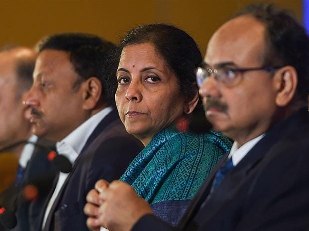 Finance Minister Nirmala Sitharaman with secretaries of her ministry at an interactive session on the Union Budget in Chennai on Saturday Photo: PTI