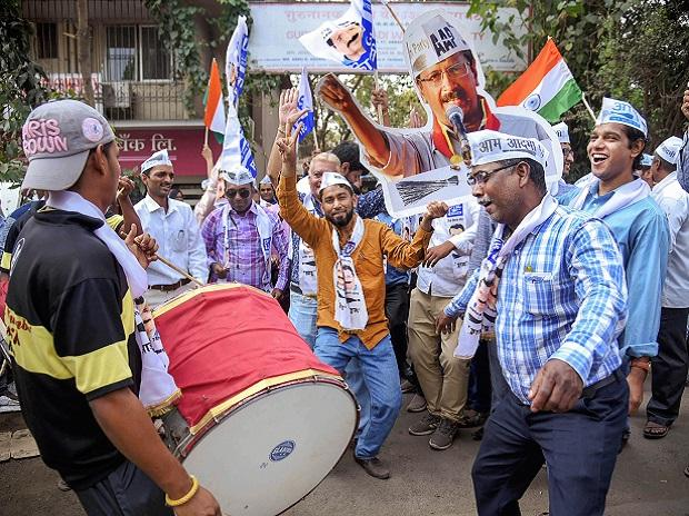 Delhi election, AAP, celebrations, aam aadmi party