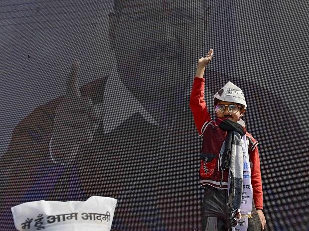 A child dressed as Kejriwal during Delhi Chief Minister Arvind Kejriwal's swearing-in ceremony
