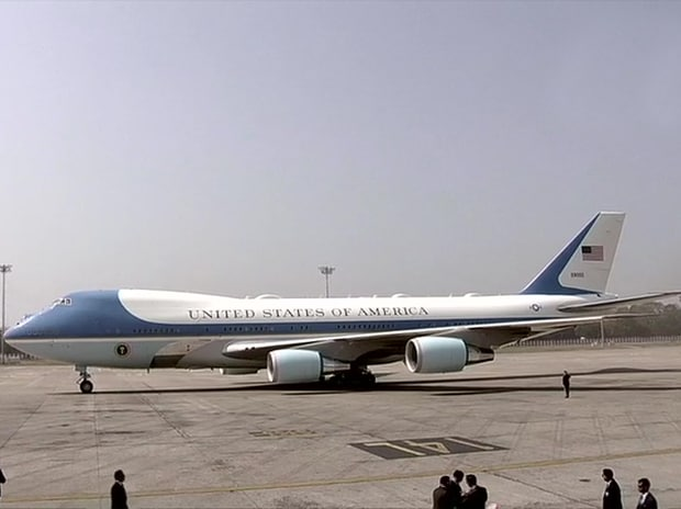 The special Air Force One aircraft landed in Ahmedabad at 11:40 am