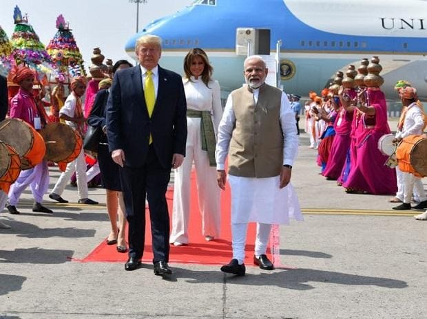 Prime Minister Narendra Modi with US President Donald Trump and First Lady Melania Trump