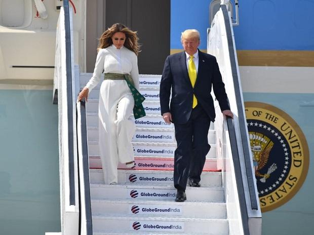 US President Donald Trump and First Lady Melania Trump arrive in Ahmedabad